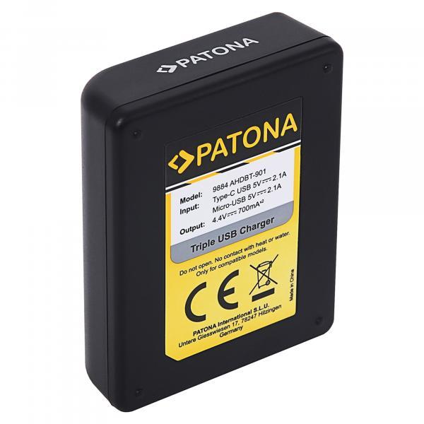 Patona 3er-Ladegerät für HERO9 & 10
